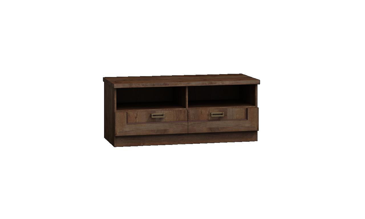 Szeroki, brązowy stolik TV w stylu klasycznym Tadeusz T-11