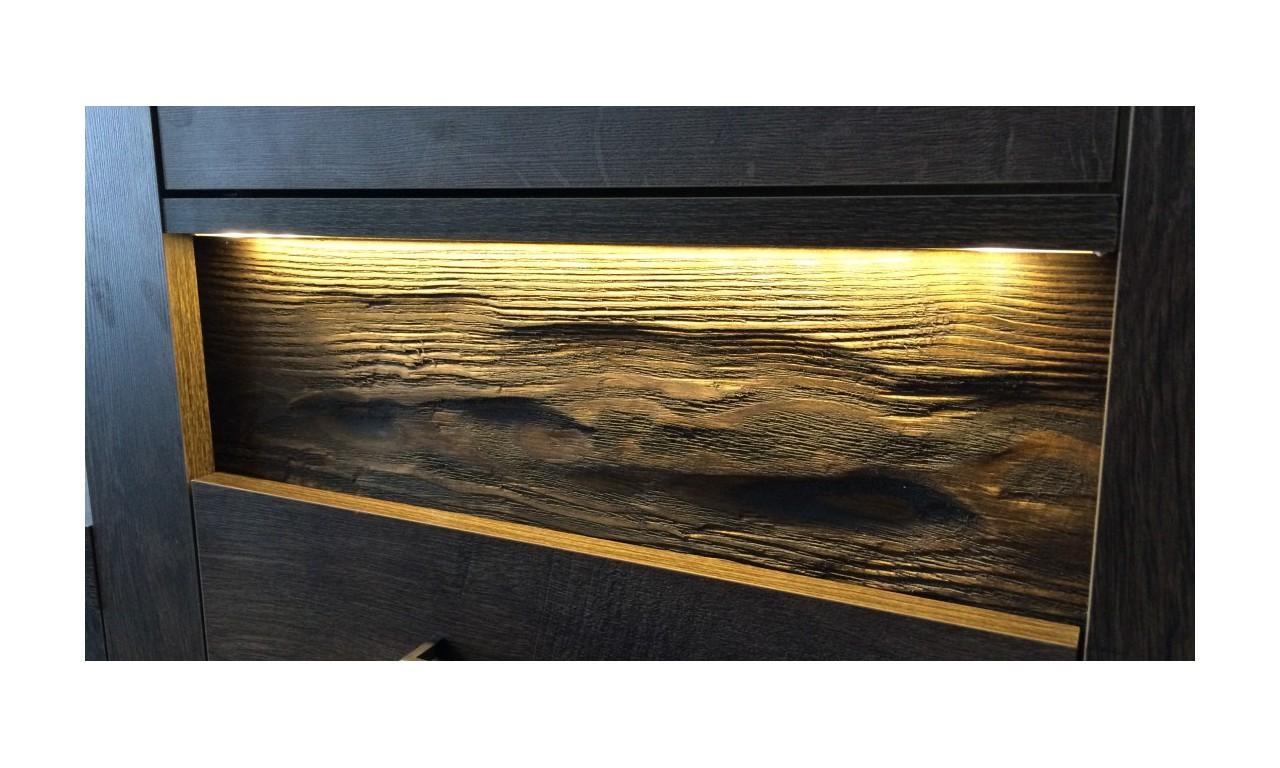 """Komoda narożna typu """"L"""" z ryflowanymi elementami drewna sosnowego Indianapolis I-15"""