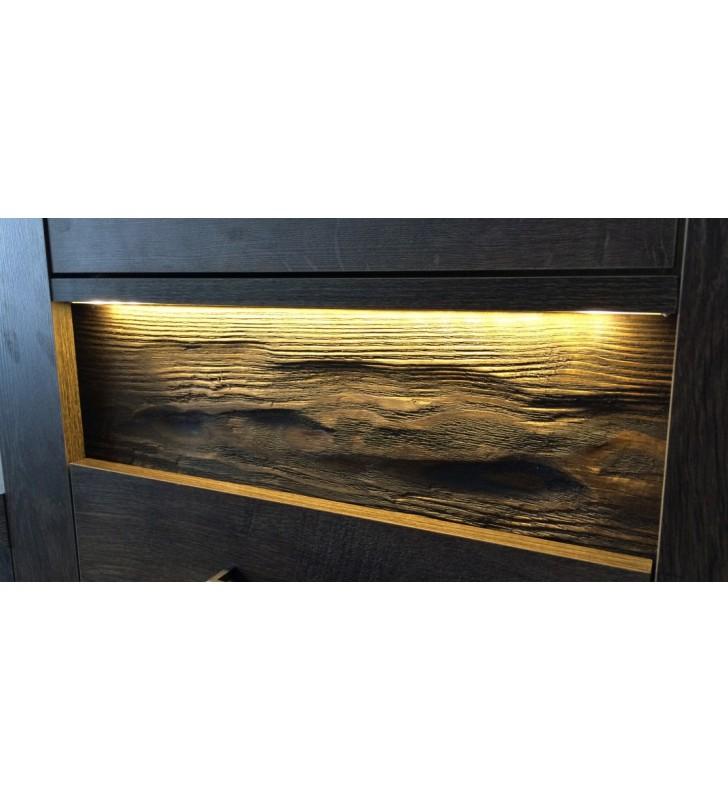 Szeroki regał z ryflowanymi elementami drewna sosnowego Indianapolis I-5