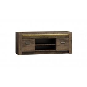 Szeroki stolik TV z ryflowanymi elementami drewna sosnowego JRISt1
