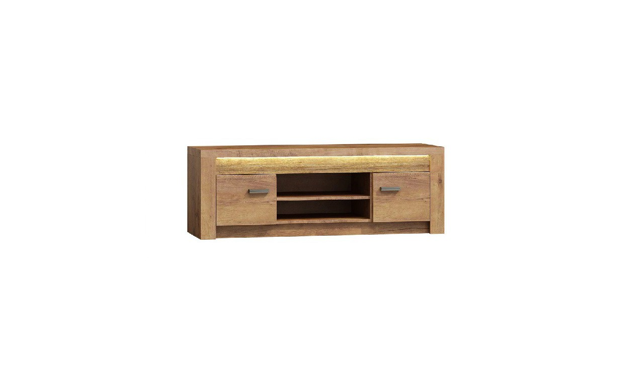 Szeroki stolik TV z ryflowanymi elementami drewna sosnowego Indianapolis I-9