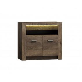 Stolik TV z ryflowanymi elementami drewna sosnowego JRISt2