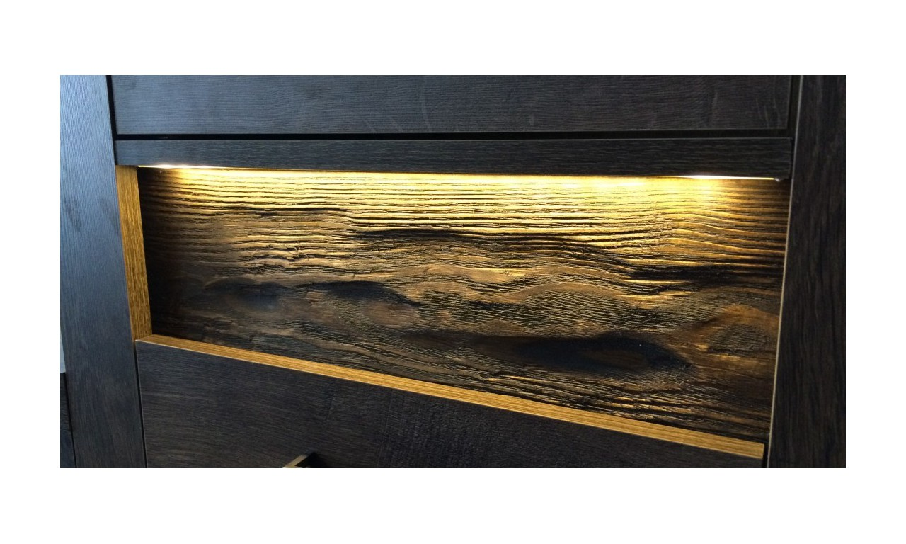 Łóżko (160x200 cm) z ryflowanymi elementami drewna sosnowego Indianapolis I-19