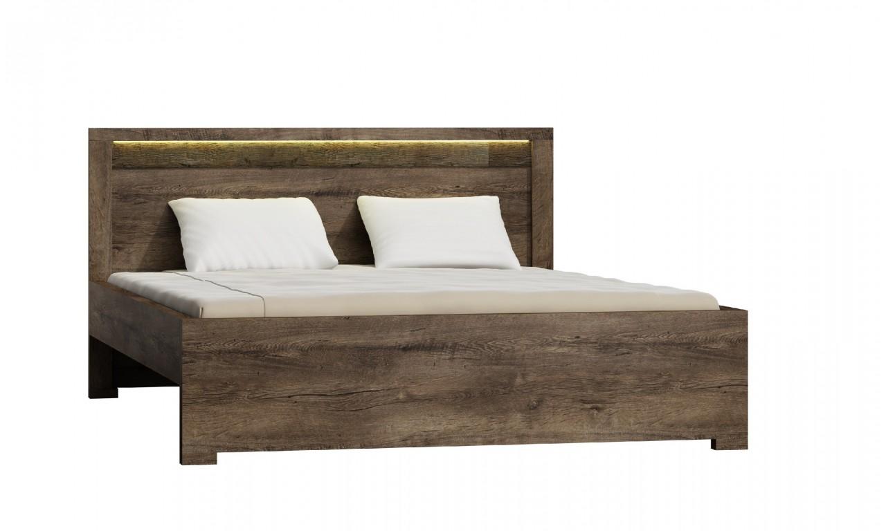 łóżko 160x200 Cm Z Ryflowanymi Elementami Drewna Sosnowego Jrilk1 Podświetlenie Led Nie Jednolite Wybarwienie Jesion Ciemy Szuflada Do łóżka Bez