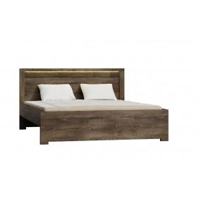 Łóżko (160x200 cm) z ryflowanymi elementami drewna sosnowego JRILk1