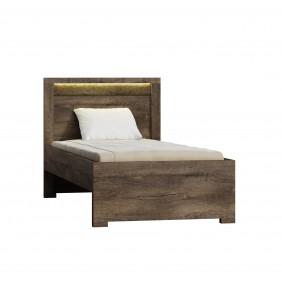 Łóżko (90x200 cm) z ryflowanymi elementami drewna sosnowego JRILk2