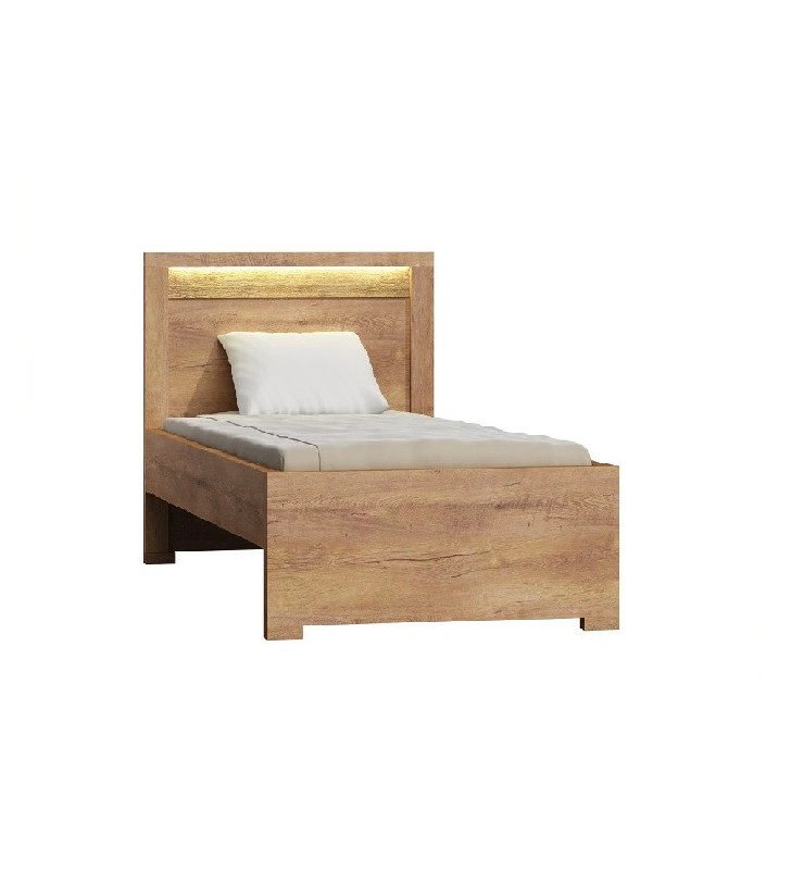 Łóżko (90x200 cm) z ryflowanymi elementami drewna sosnowego Indianapolis I-20