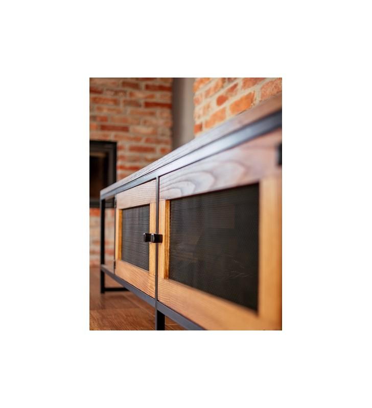 Stolik RTV w stylu industrialnym z drewna i stali DSMASt1