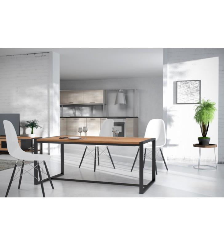 Stół/biurko w stylu industrialnym z drewna i stali DSMASt2
