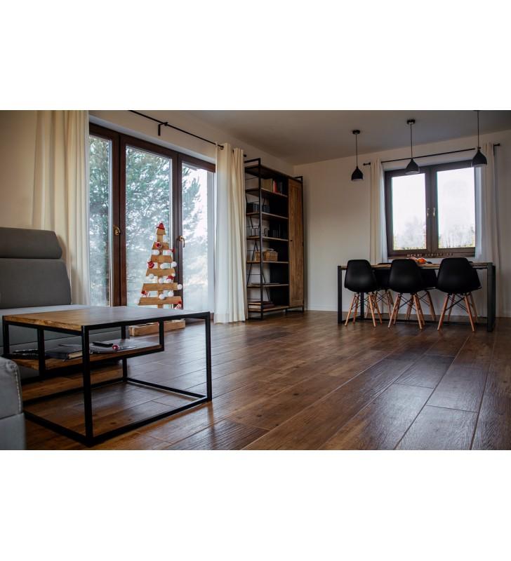Stolik kawowy w stylu industrialnym z drewna i stali DSMASt3
