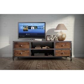 Stolik TV w stylu industrialnym z drewna i stali DSMGSt1