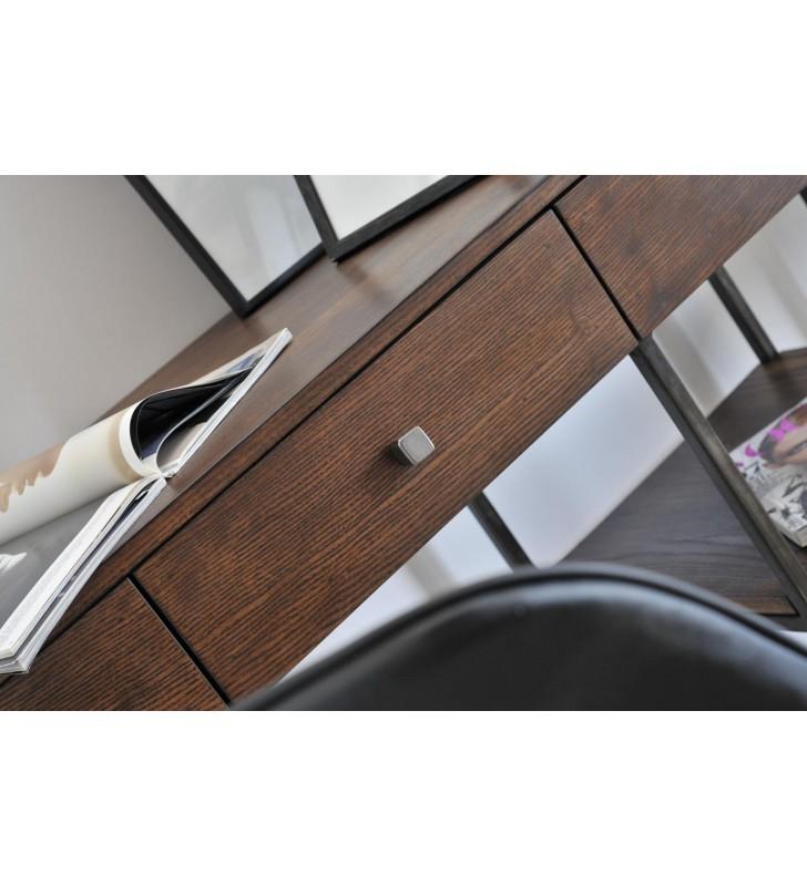 Biurko w stylu industrialnym z drewna i stali DSMB1