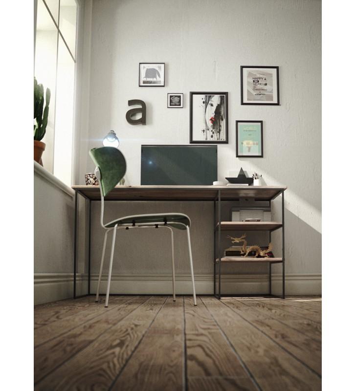 Biurko w stylu industrialnym z drewna i stali DSMB2
