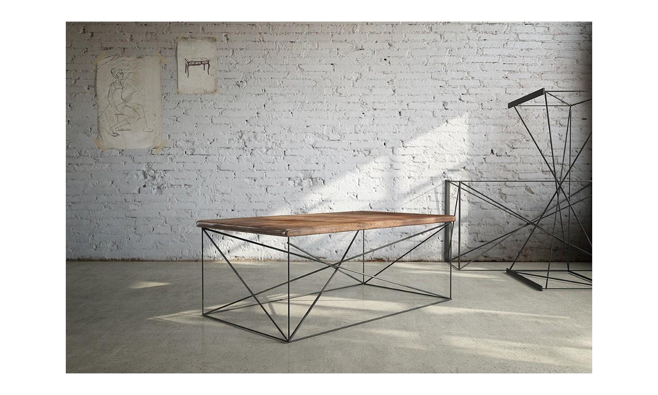 Stolik kawowy w stylu industrialnym z drewna i stali DSMSt4
