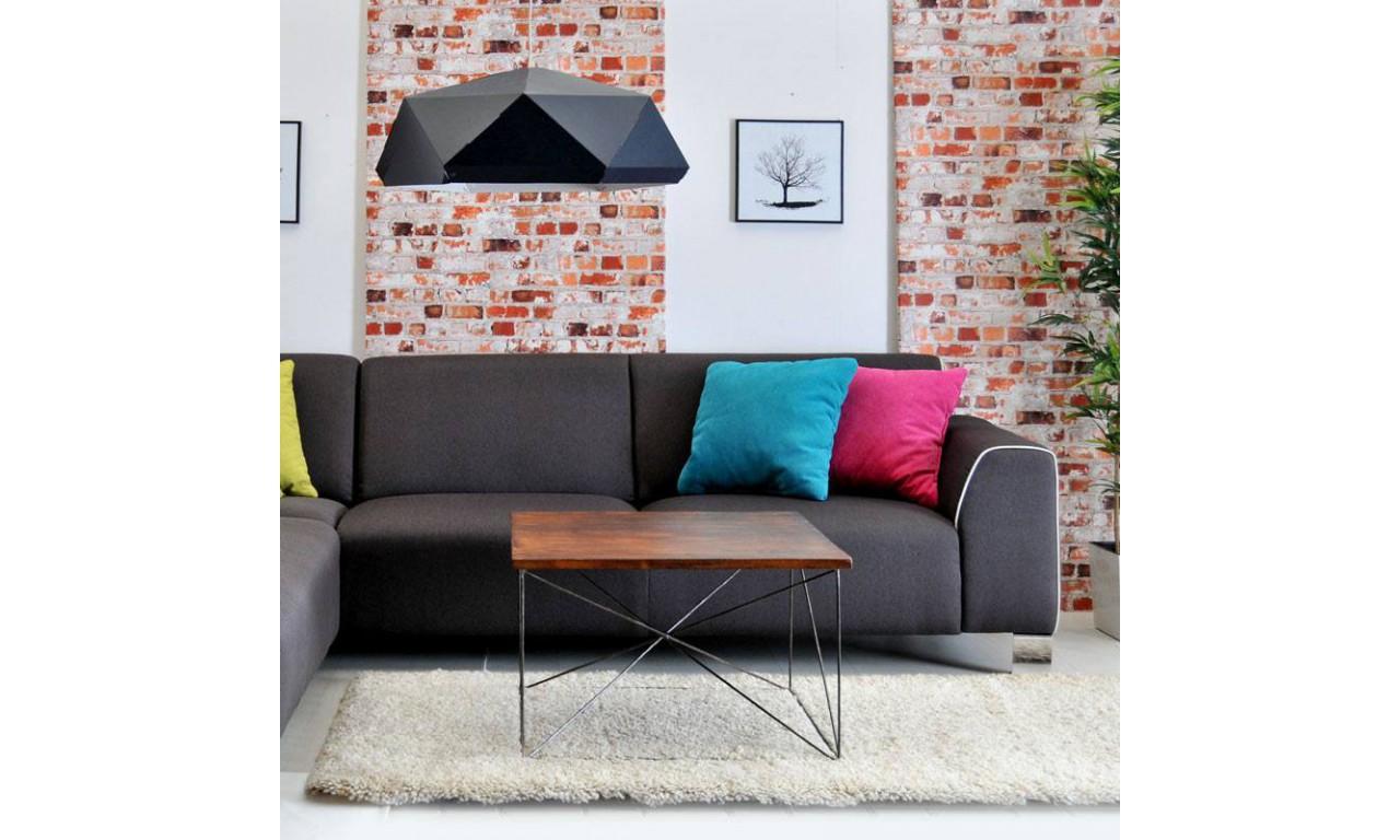 Stolik kawowy w stylu industrialnym z drewna i stali DSMSt5