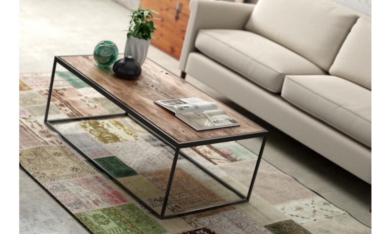 Stolik kawowy w stylu industrialnym z drewna i stali DSMSt6