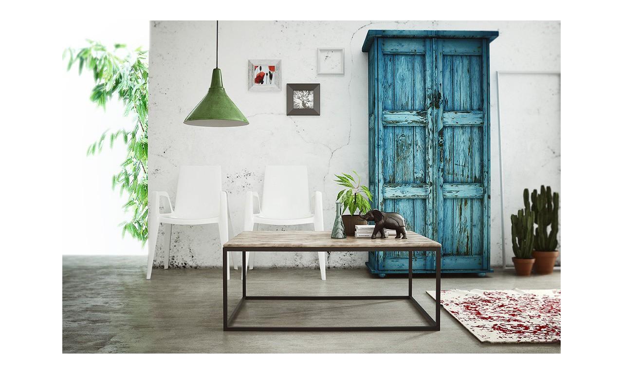 Stolik kawowy w stylu industrialnym z drewna i stali DSMSt7