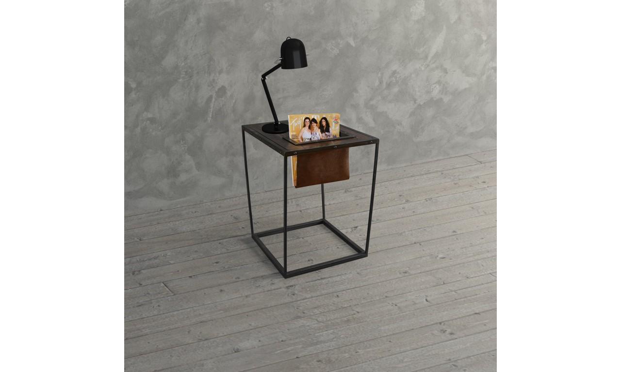 Stolik gazetowy w stylu industrialnym z drewna i stali DSMSt11