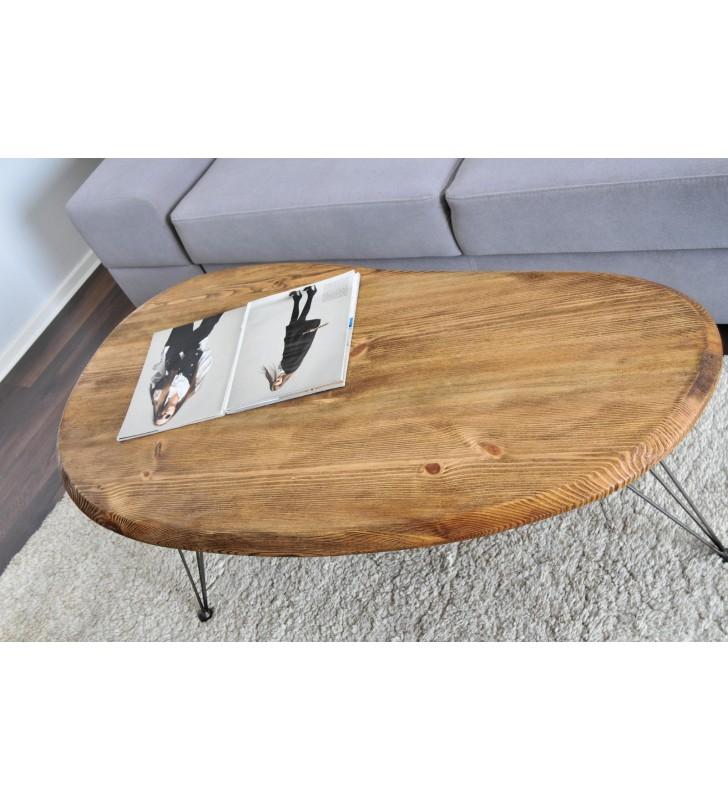 Stolik kawowy w stylu industrialnym z drewna i stali DSMSt12