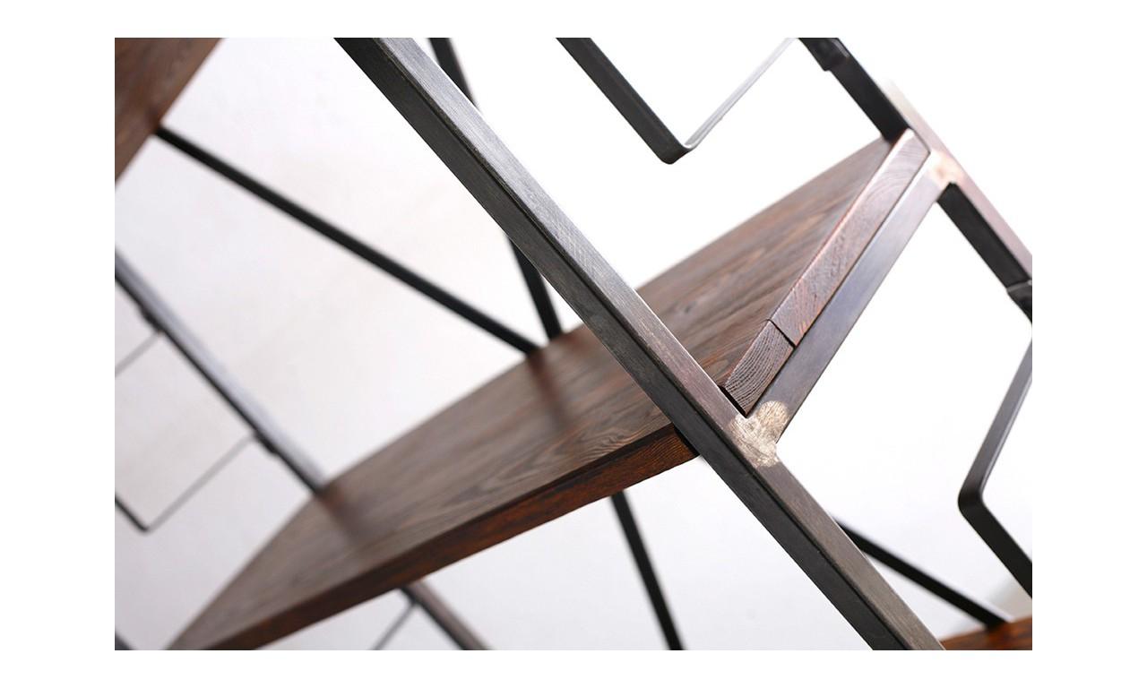 Regał w stylu industrialnym z drewna i stali DSMR1