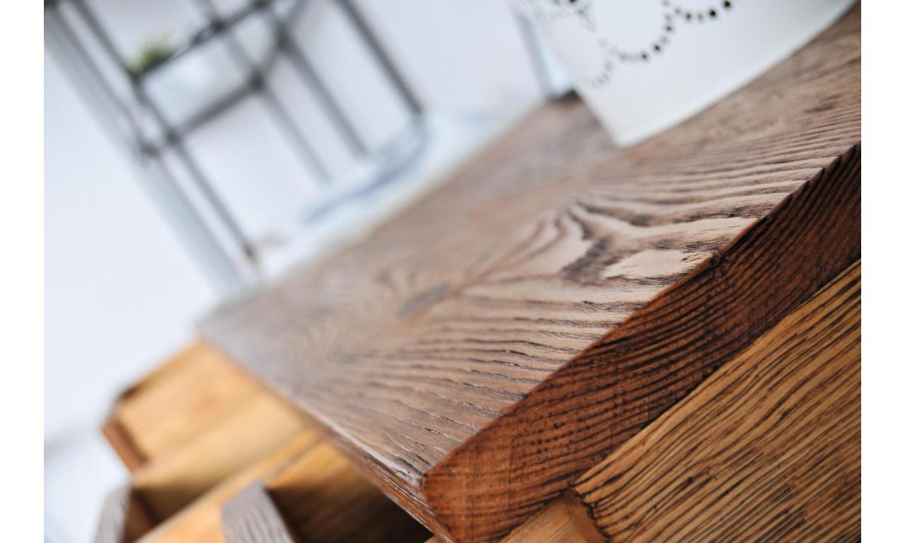 Stolik RTV w stylu industrialnym z drewna i stali DSMSt2