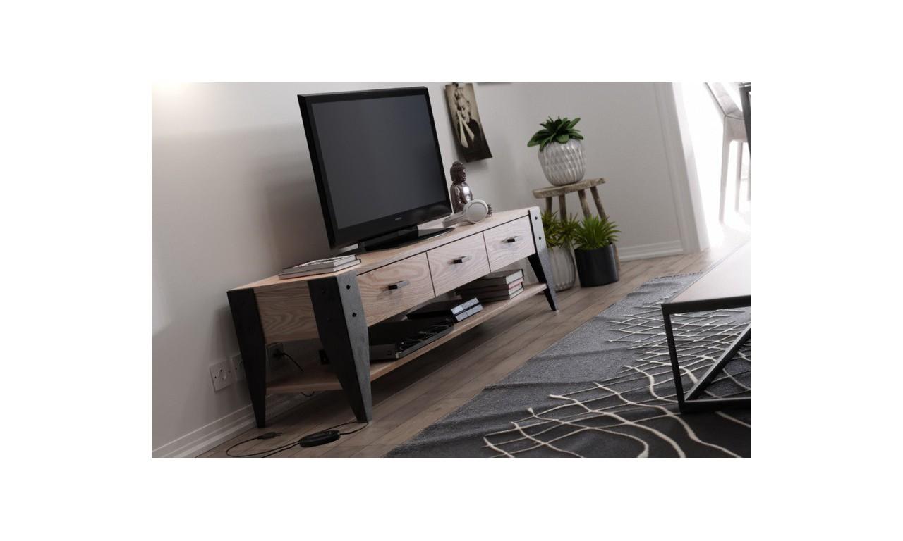 Stolik TV w stylu industrialnym - drewno i stal, DSMSt16