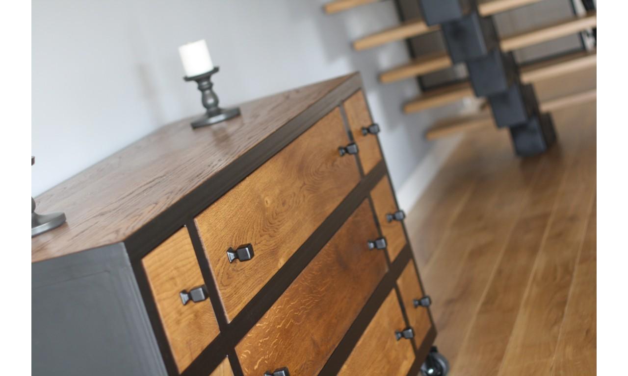Komoda w stylu industrialnym z drewna i stali DSMGK