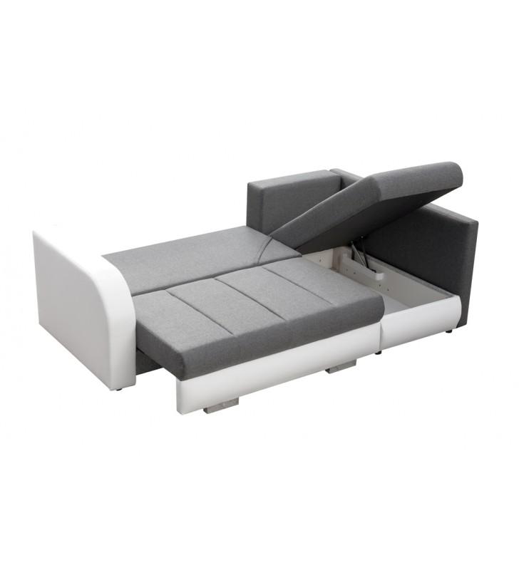 Beżowy narożnik z funkcją spania i dwoma pojemnikami na pościel R-City (Inari23+Soft17)