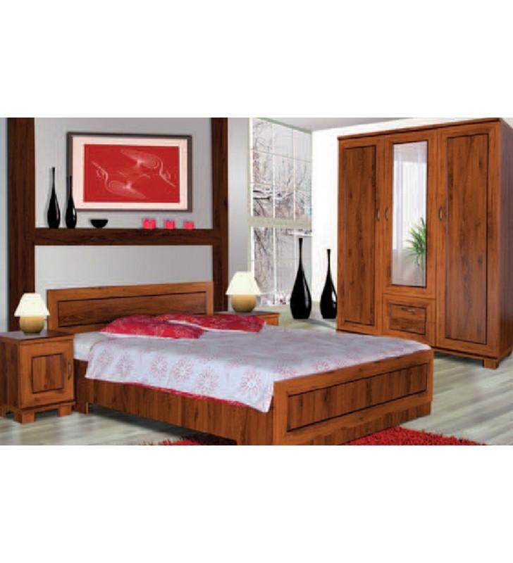Brązowe łóżko (140x200 cm) w stylu klasycznym Tytan TŁÓ