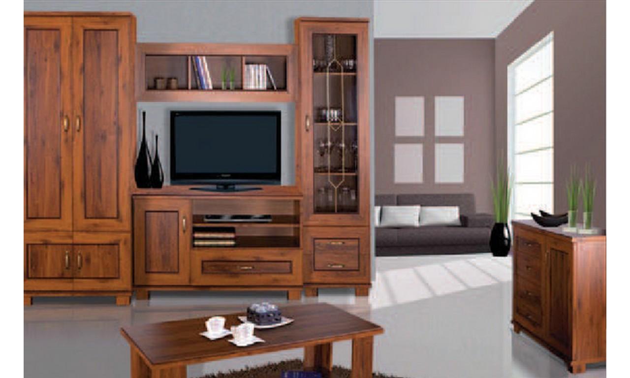 Brązowy stolik RTV w stylu klasycznym Tytan TRTV