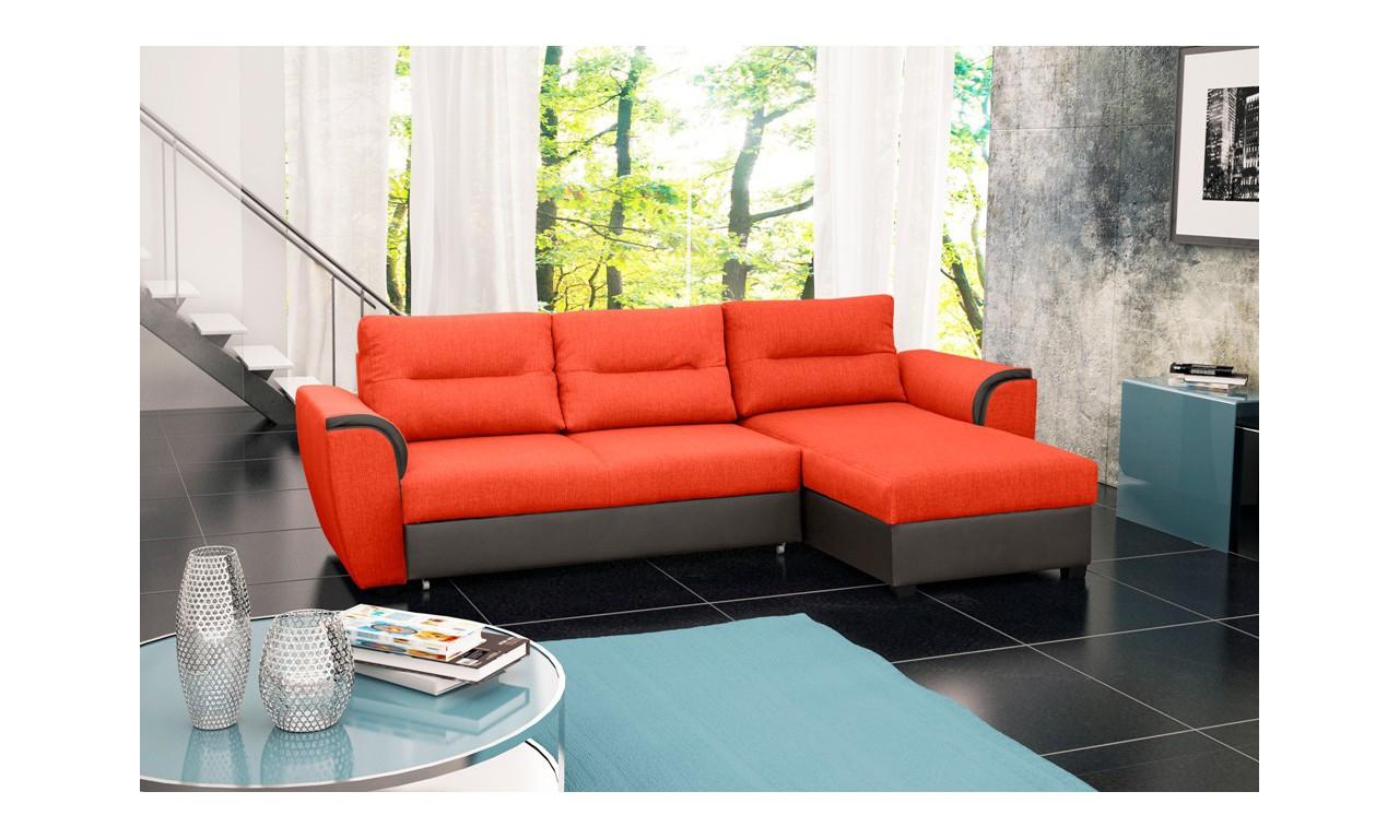 Pomarańczowy narożnik z funkcją spania i pojemnikiem na pościel Tomek (HC51+Soft29)