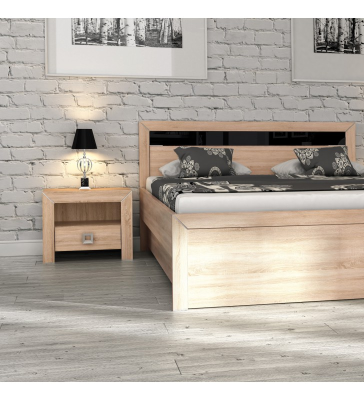 Jasnobrązowe łóżko (160x200 cm) w nowoczesnym stylu Havana H-16