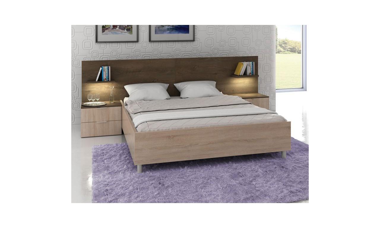 Łóżko (160x200 cm) z szafkami nocnymi w stylu nowoczesnym Carmen