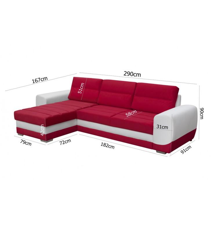 Czerwony narożnik z funkcją spania i pojemnikiem na pościel Kirii (c2309+c2315)
