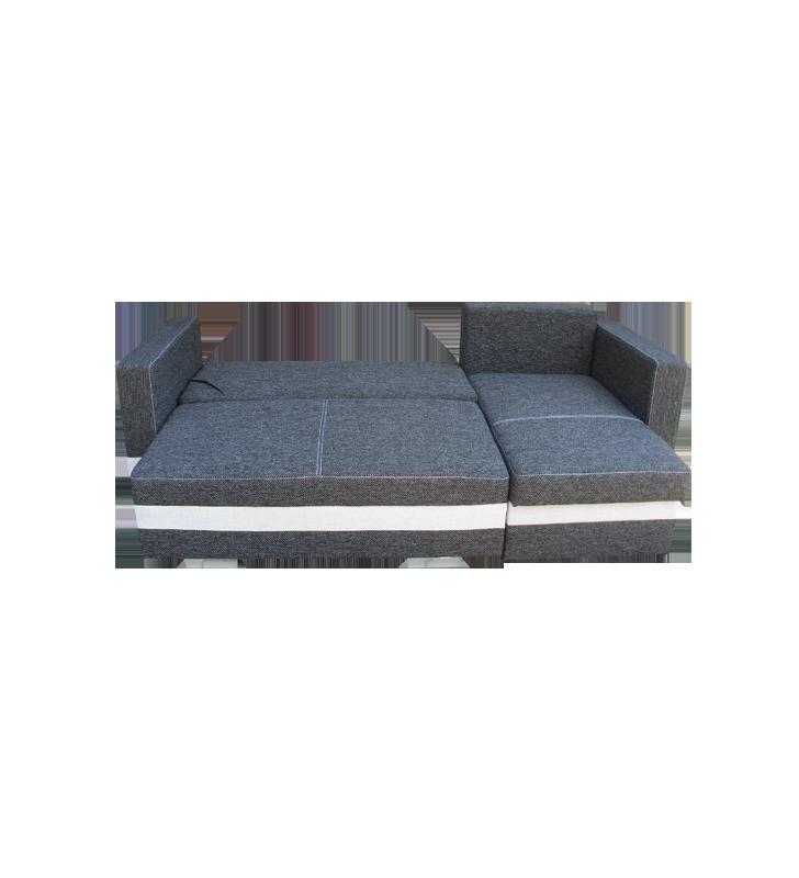 Niebieski narożnik z funkcją spania i dwoma pojemnikami na pościel R-Mini (Etna80+Etna85)