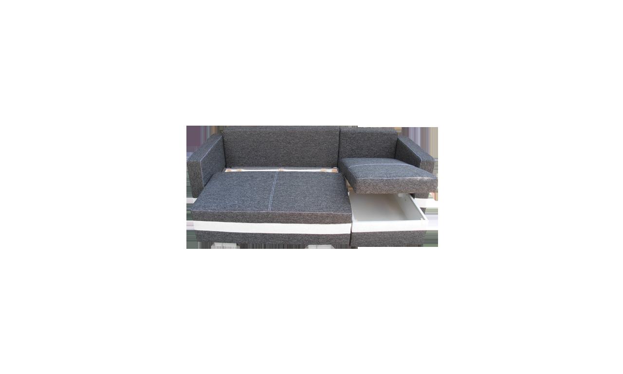 Szary narożnik z funkcją spania i dwoma pojemnikami na pościel R-Mini (Etna100+HC51)