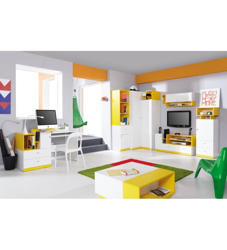 Łóżko piętrowe (90x200 cm) z biurkiem i szafą do pokoju dziecięcego MOBI 20