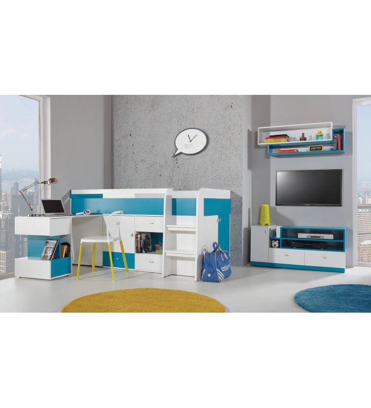 Łóżko piętrowe (90x200 cm) z biurkiem do pokoju dziecięcego MOBI 21
