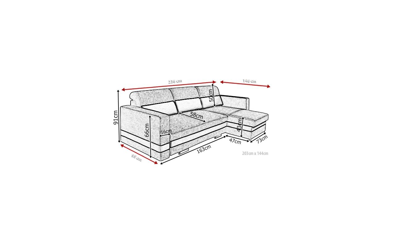 Szary narożnik z funkcją spania i dwoma pojemnikami na pościel R-Mini (Etna96+Etna90)