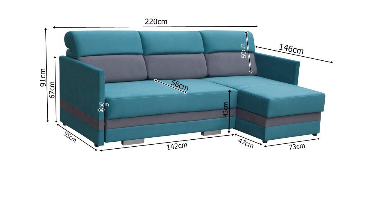 Beżowy narożnik z funkcją spania i dwoma pojemnikami na pościel Koliber (c2307+c2304)