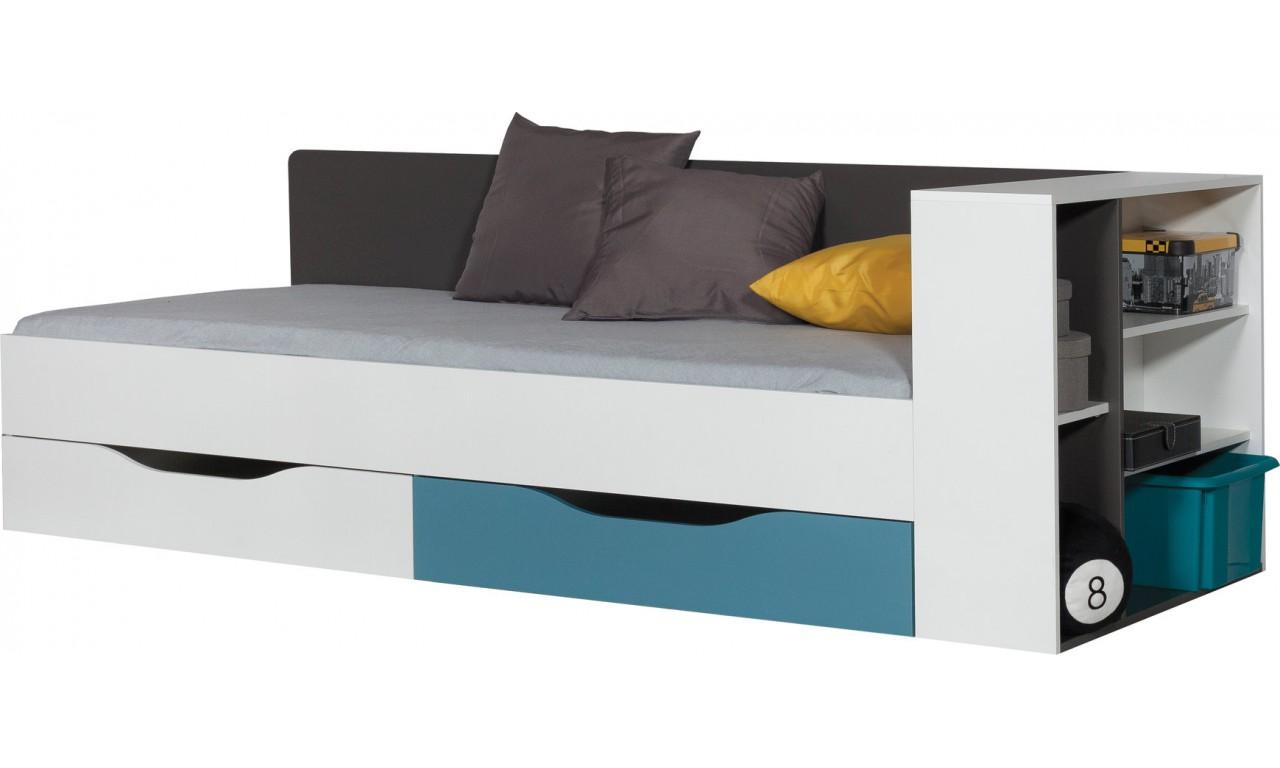 Łóżko (90x200 cm) z dostawką w stylu nowoczesnym do pokoju młodzieżowego Tablo 12a+b