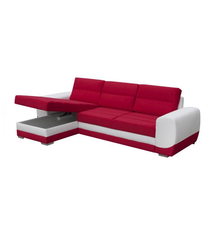 Czerwony narożnik z funkcją spania i pojemnikiem na pościel Kirii (c2309+soft17)