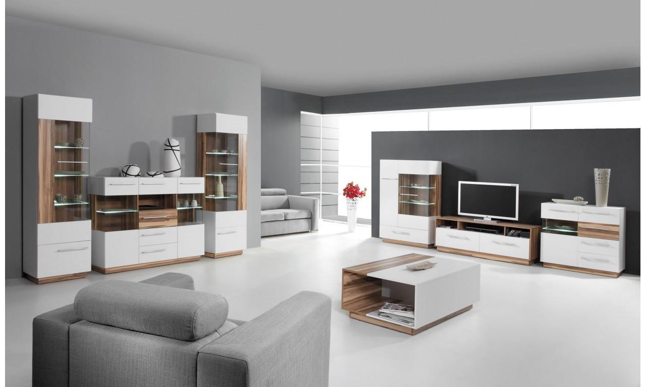 Czarnobrązowy lub białobrązowy stolik RTV w stylu nowoczesnym MONSUN 7