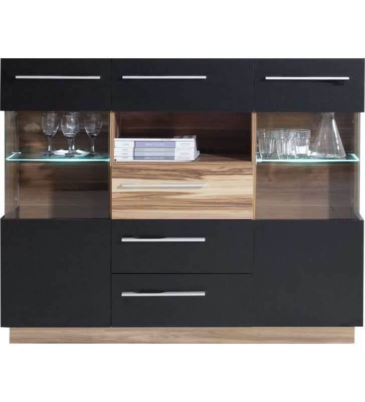 Białobrązowy lub czarnobrązowy zestaw mebli do salonu w stylu nowoczesnym MONSUN A