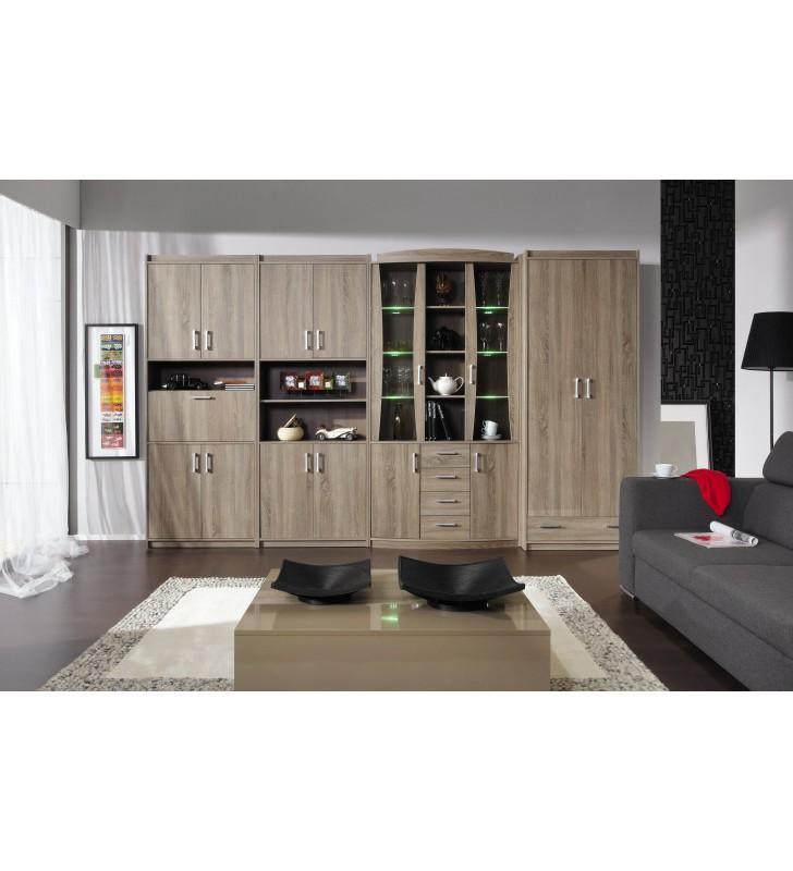 Brązowa szafa narożna w stylu klasycznym MEGA 8