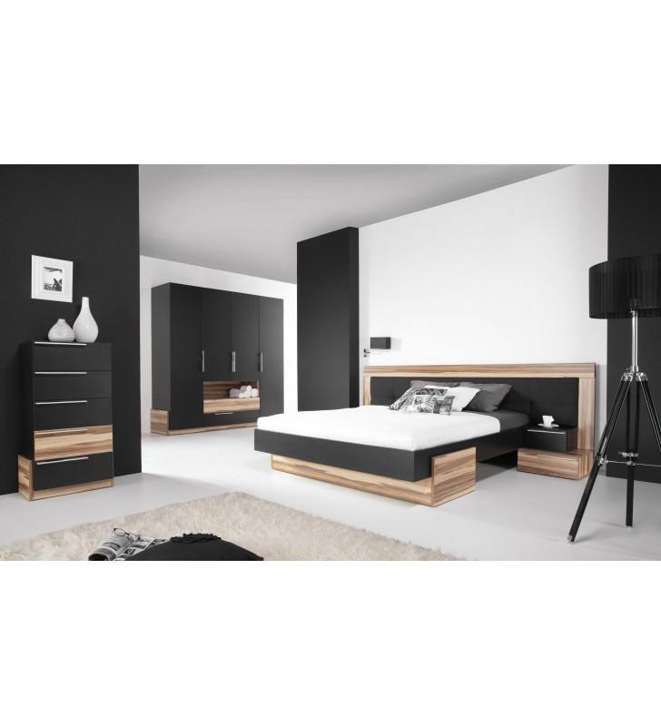 Biała lub czarna szeroka szafa w stylu nowoczesnym do sypialni MORENA