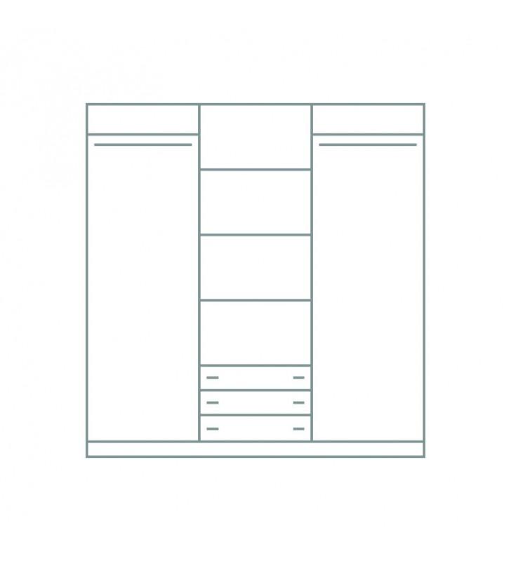 Brązowa, szeroka (200 cm) szafa przesuwna z lustrem GRETA