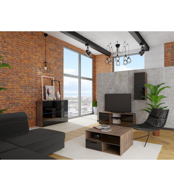 Czarno-brązowa ława do salonu w stylu nowoczesnym Nobi