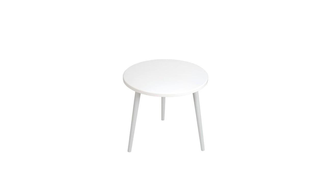 Biały stolik ze sklejki, o średnicy 60 cm wys. 54 cm Crystal White