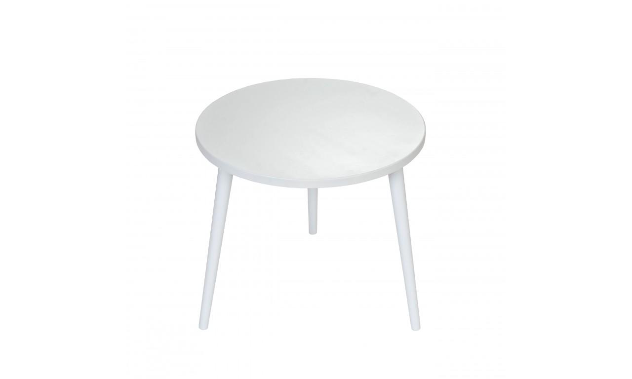 Szary stolik ze sklejki, o średnicy 60 cm wys. 54 cm Gray Moon